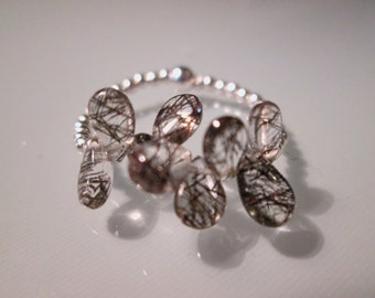 Ring bling with rutilated quartz