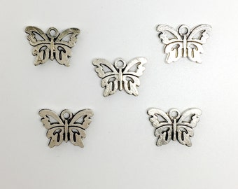 5 Tibetan Silver Butterfly Charms