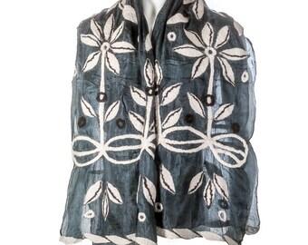 Handmade felted silk scarf shawl wrap - black white