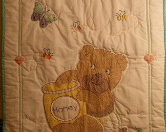 Hand embroidered and hand quilted baby nursery quilt/blanket, turquoise blue w/ honey bear pot