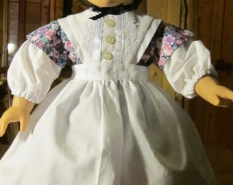 "18"" Doll Clothes Civil War Era Flowered Peplum-style Dress with  White Pinafore fHandmade to fit American Girl & Other 18"" Dolls"