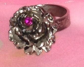 Vintage Silver Tone Rose Ring