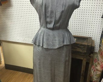 Vintage 80's Gray Peplum dress
