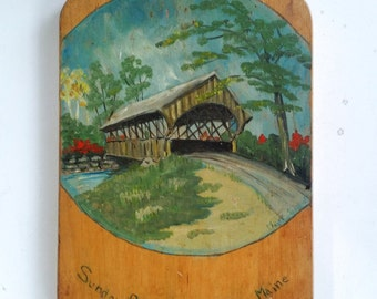 Cutting Board Hand Painted Vintage Wooden