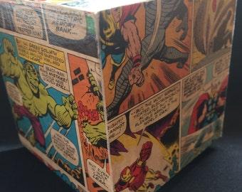 SuperHero Piggy Bank Wooden Money Box decoupage *Perfect Gift