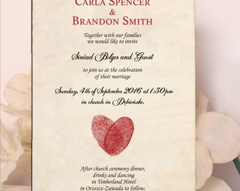 Real Wood Wedding Invitations - Colourful Wood Invitation - Fingerprints