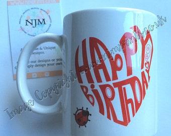 Happy Birthday Heart Mug