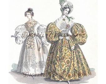 Vintage Modes de Paris Fashion/Costume Hand Painted Print September 1834 Digital Download