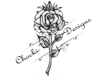 Dotwork Rose tattoo design