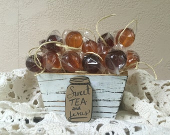 Southern Sweet-tea Pops, wedding favors, southern gifts, handmade, delicious lollipops