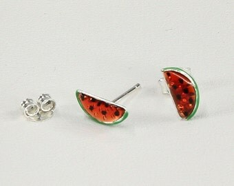Watermelon Earrings for Girls, Glazed Earrings in Sterling Silver 925, Italian Handmade Fashion, Girls Jewelry, Gift for Girls 7881