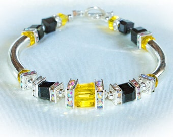 Pittsburgh Steelers Jewelry Crystal Bracelet for the fan that likes bling