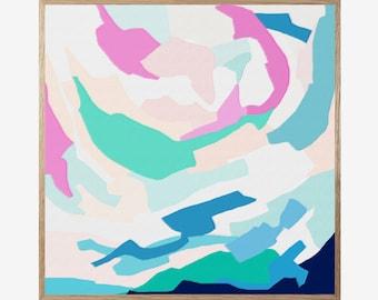 Abstract Art Print, Abstract Blue Mint Green White, Mid Century Modern, Modern Abstract Art, Landscape Wall Art, Minimalist, Art Work 16x16