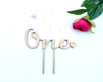 One Cake Topper Gold - Smash Cake Topper - Gold One Cake Topper