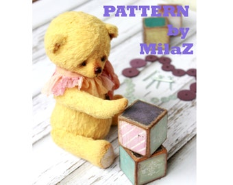 PDF, Artists Teddy Bear pattern, teddy pattern, teddy bear, soft toy pattern, viscose bear, toys, artist teddy