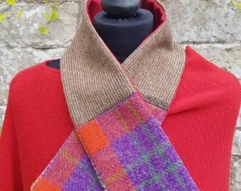 Harris tweed collar hand made- stylish unique colourful Scottish Tweed