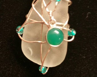 Genuine Seaglass necklace. Beach glass.   Wire wrapped