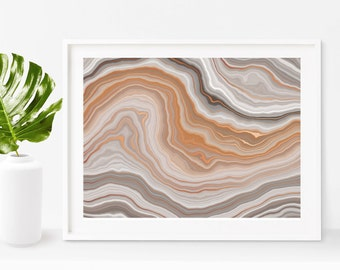 Earthy Agate Waves Copper Art Print - Instant Digital Download