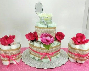 Baby Shower diaper cake, girl diaper cake, decorations and gifts, baby girl gift.