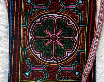 Shipibo (Amazon) shoulder bag: Hand-stitched wearable art, Ayahuasca-inspired