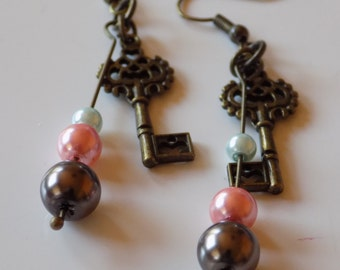 Brass Key with Pink, Brown, and Sky Blue Glass Pearls Earrings