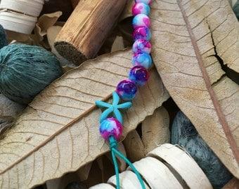 Handmade, Boho, Beach, Watercolor Beads, Turquoise Starfish Charm, Turquoise Nylon Cord, Key Chain, Key Fob, Lanyard, Purse Charm, Bag Charm