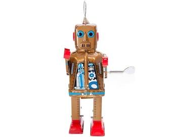 """Vintage Style Wind Up 7.75"""" Tin Robot"""