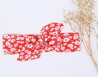 Red Daisy Top Knot Headband