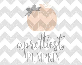 Prettiest Pumpkin In The Patch, Pumpkin SVG, Prettiest Pumpkin SVG, Halloween SVG, Fall svg, Cut file, svg, dxf, Pumpkin Cut File
