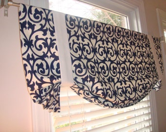 Navy, Ivory Scroll Gate Trellis Tie up Valance Window Treatment Curtain Shade Bedroom Kitchen Office