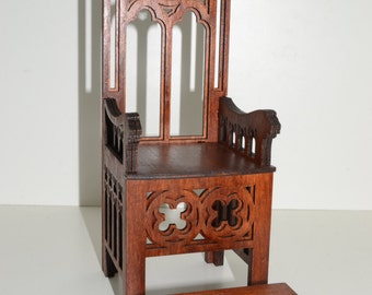 Barbie Gothic throne for Dolls 1:6 scale 12 inches furniture Barbie FR wooden handwork chair dollhouse 1/6