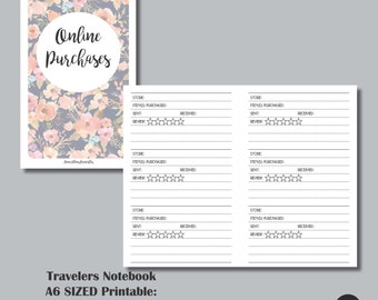 Online Purchases Tracker & Review A6 Sized TRAVELERS NOTEBOOK INSERT