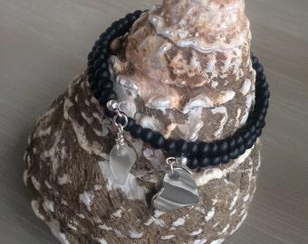 Memory Wire Sea Glass Bead Bracelet
