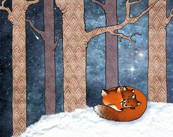 Winter holiday card with illustration of sleeping foxes in the snow, with envelope. Free shipping