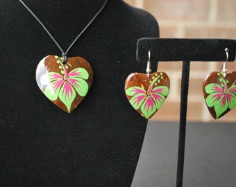 Heart Earrings, Necklace set with hibiscus design