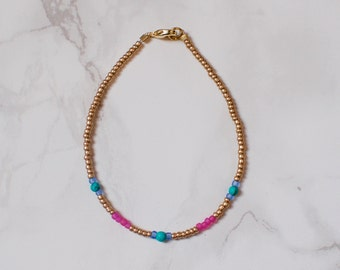Gold Metallic Seed Bead Bracelet with Pink and Turquoise Detail