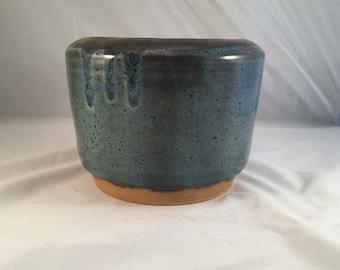 Blue Stoneware Vase/Bowl