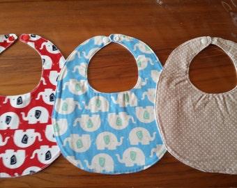 Handmade set of 3 baby bibs