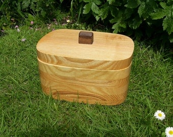 English Ash Bandsaw Box, Jewellery Box, Keepsake Box