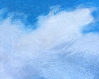 Wispy clouds original oil painting