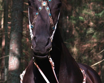 Handmade Bridle Blue Baroque White leather