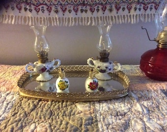 Vintage vanity tray with mirror and gold trim