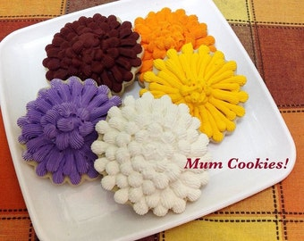 Fall Mum Cookie Favors - Set of 6