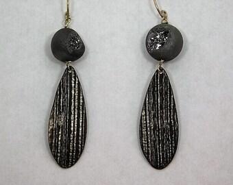 Double Sided Druzy Agate Dangle Earrings