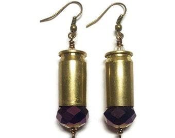 Bullet Casing Earrings in Gold .45; Handmade Jewelry