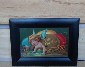 Vintage Easter postcard in frame