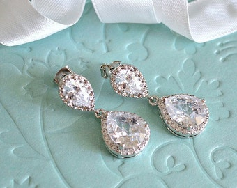 White Gold Bridal Drop Earrings, White Cubic Zirconia Teardrop Earrings, Wedding Jewelry, Bridesmaids Earrings, Bridal Gift