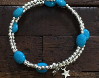 Blue Howlite and beaded Wrap Bracelet
