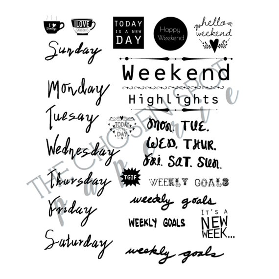 bullet journal stickers days of the week printable stickers