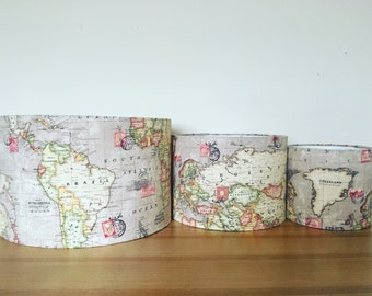 Fabric lampshade. Taupe world map / atlas / globe. Handmade